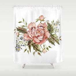 Pink Wild Rose Bouquet Shower Curtain