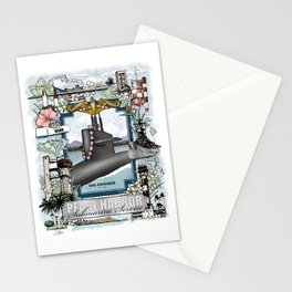 USS Chicago - Pearl Harbor Submarine Service (gold dolphins) Stationery Cards