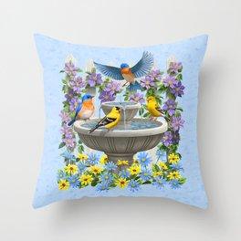 Bird Fountain Flower Garden Gathering Throw Pillow