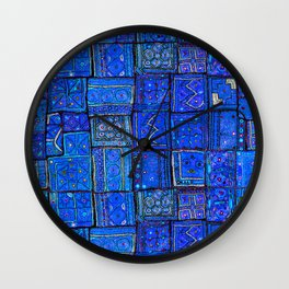 V2 Calm Blue Traditional Moroccan Cloth Texture. Wall Clock