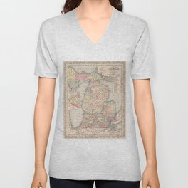 Vintage Map of Michigan (1857) Unisex V-Neck