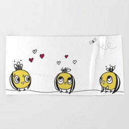 3 birds Beach Towel