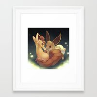eevee Framed Art Prints featuring Eevee and Vulpix by Yamilett Pimentel