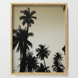 Tropical palm trees on yellow Serving Tray