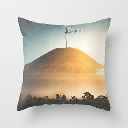 Explore-Indonesian Volcano Throw Pillow