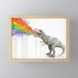 T-Rex Dinosaur Rainbow Puke Taste the Rainbow Watercolor Framed Mini Art Print