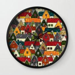 Small Mosaic Village Wall Clock