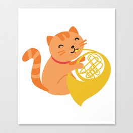 Cat Playing French Horn design Musician Orchestra Gift Canvas Print