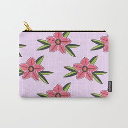 Old school tattoo flower pattern in lilac Carry-All Pouch