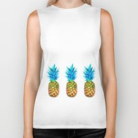 pineapples Biker Tanks featuring Many pineapples by Yilan