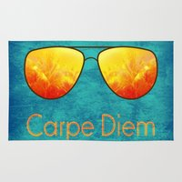 carpe diem Area & Throw Rugs featuring Carpe Diem by Leah M. Gunther Photography & Design