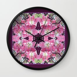 PINK SPRING LILY FLOWERS PURPLE GARDEN Wall Clock