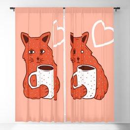 Peach Coffee Kitten Blackout Curtain