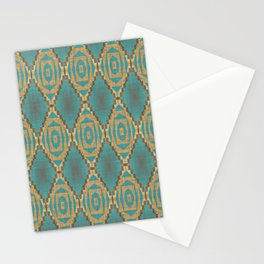 Teal Turquoise Khaki Brown Rustic Mosaic Pattern Stationery Cards