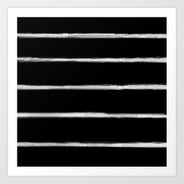 Skinny Strokes Gapped Horizontal Off White on Black Art Print