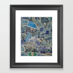 Vintage Postage Stamp Collection - Blue Framed Art Print