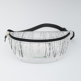 Green bench in white winter forest Fanny Pack