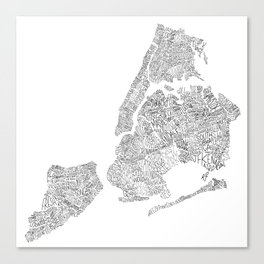 New York City Boroughs - Hand lettered map Canvas Print