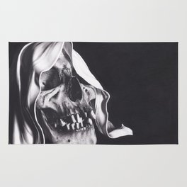 Realism Charcoal Drawing of Reaper Skull Rug