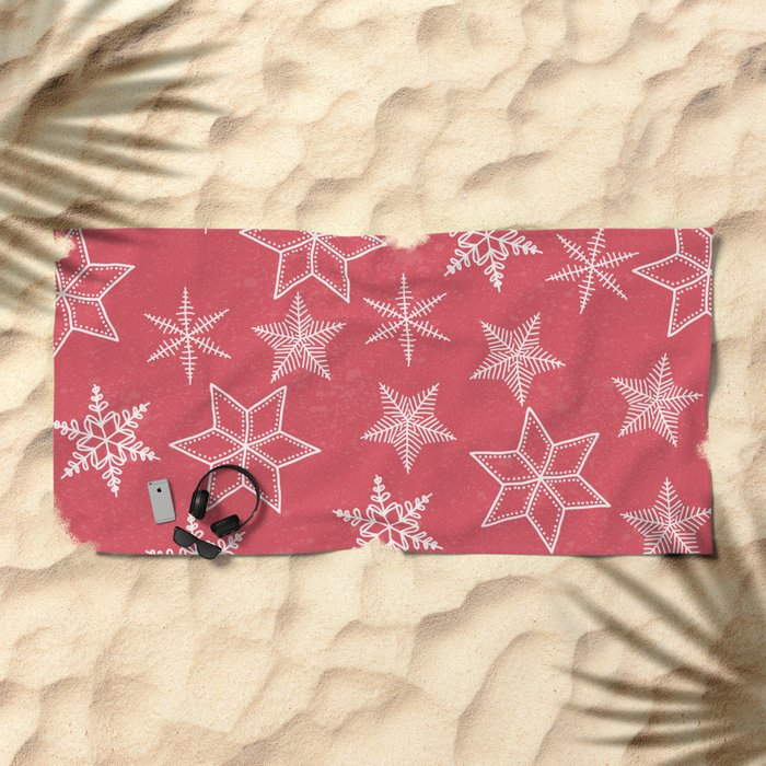 Snowflakes On Pastel Red Background Beach Towel