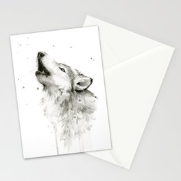 Wolf Howling Watercolor Animals Painting Black and White Stationery Cards
