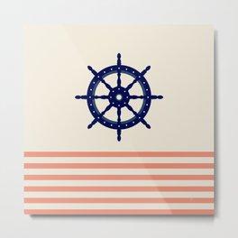 AFE Navy and Orange Helm Wheel Metal Print
