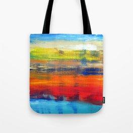 Horizon Blue Orange Red Abstract Art Tote Bag