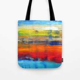 Horizon Blue Orange Red Abstract Art Tote Bag