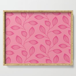 Climbing Leaves In Rose Pink On Blossom Pink Serving Tray