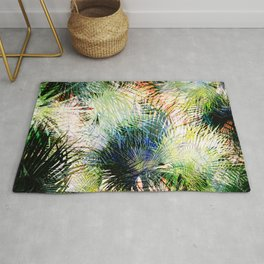 Modern palm leaves tropical abstract design Rug