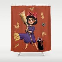 kiki Shower Curtains featuring Kiki and Jiji by Kristin Frenzel