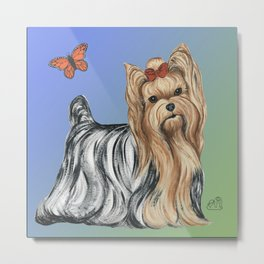Yorkshire Terrier - Yorkie- by Nina Lyman of Dogs By Nina Metal Print