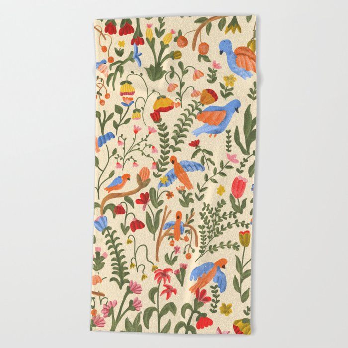 Tropical Garden Pattern Beach Towel