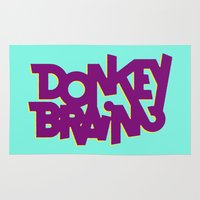 donkey Area & Throw Rugs featuring Donkey Brain by Josh LaFayette