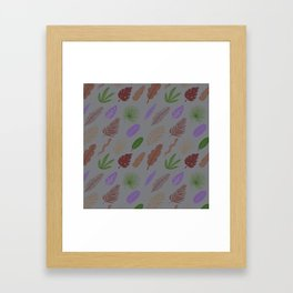 Modern abstract lavender green brown leaves pattern Framed Art Print