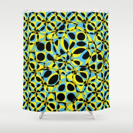 yellow blue circle pattern Shower Curtain