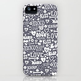 Love doodles in neutral grey and white iPhone Case