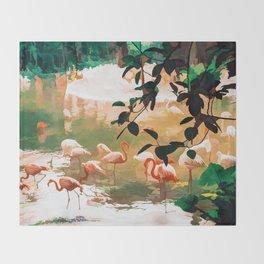 Flamingo Sighting #painting #wildlife Throw Blanket