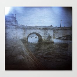 Paris Bridge & Seine Holga Double Exposure Canvas Print