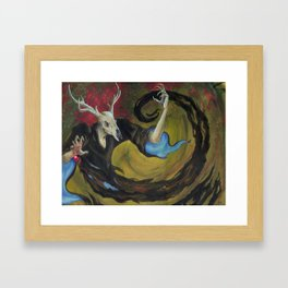 The Deerman's Challenge. Framed Art Print