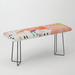 italy coast houses minimal abstract painting Bench