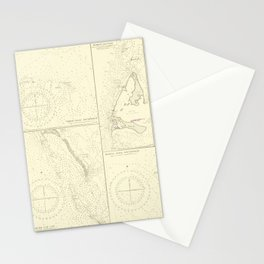 Vintage Map Print - Admiralty Chart No 3006 the North West Side of the Great Bahama Bank, 1898 Stationery Cards
