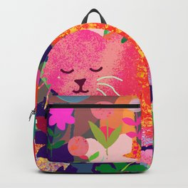 Sleeping Cat with Abstract Background Backpack