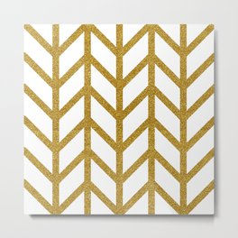 Herringbone Chevron (Chunky Metallic Gold On White) Metal Print