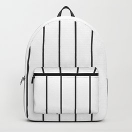 Dark Grey Pinstripes on White | Wide Vertical Pinstripes | Backpack