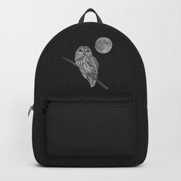 Owl, See the Moon (bw, sq) Backpack
