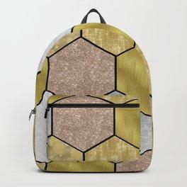 Golden honeycomb on black geometric Backpack