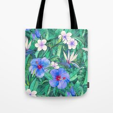 White Bird of Paradise & Blue Hibiscus Tropical Garden Tote Bag