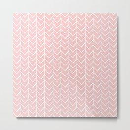 Herringbone Pink Metal Print