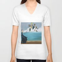 baloon V-neck T-shirts featuring Butterfly Baloon by ArtSchool